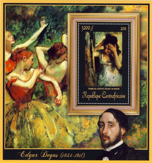 Special Block of Paintings of Edgar Degas, (Femme se coiffant devant un miroir). - Issue of Central African republic postage stamps