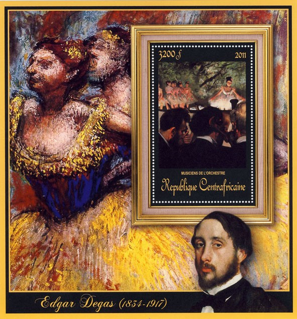Special Block of Paintings of Edgar Degas,  (Musiciens de l'orchestre). - Issue of Central African republic postage stamps
