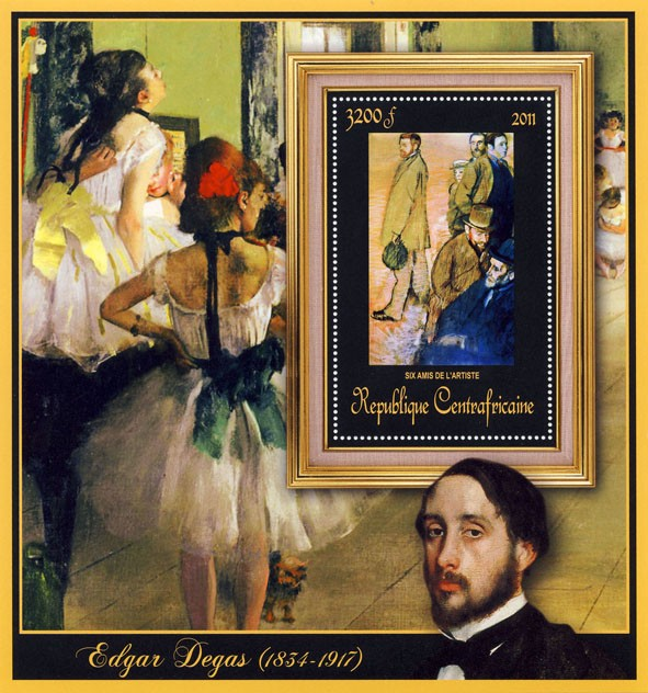 Special Block of Paintings of Edgar Degas, (Six amis de l'artiste). - Issue of Central African republic postage stamps