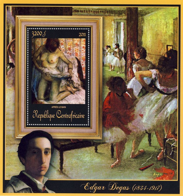 Special Block of Paintings of Edgar Degas, (Apres le bain). - Issue of Central African republic postage stamps