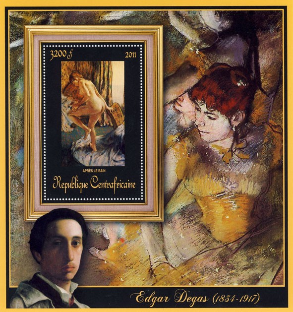 Special Block of Paintings of Edgar Degas, (Apres les bain). - Issue of Central African republic postage stamps
