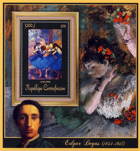 Special Block of Paintings of Edgar Degas, (La ballerine). - Issue of Central African republic postage stamps