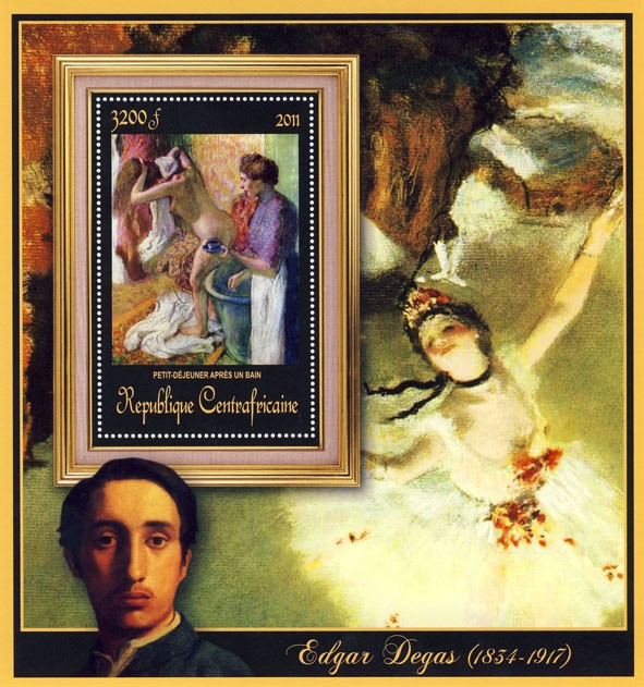 Special Block of Paintings of Edgar Degas, (Petit-dejurner apres un bain). - Issue of Central African republic postage stamps