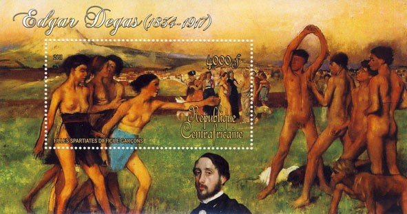 Paintings of Edgar Degas, (1834-1917). (Filles spartiates doficile grcons). - Issue of Central African republic postage stamps