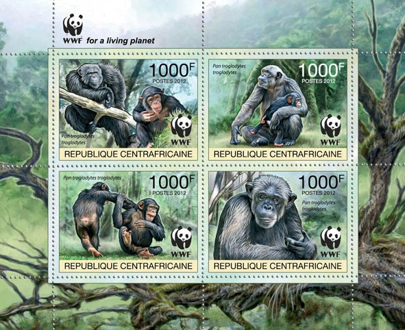 WWF Pan troglodytes troglodytes Sheet of 1 set - Perforated - Issue of Central African republic postage stamps