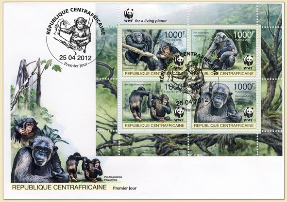 WWF Pan troglodytes troglodytes Sheet of 1 set - FDC - Issue of Central African republic postage stamps