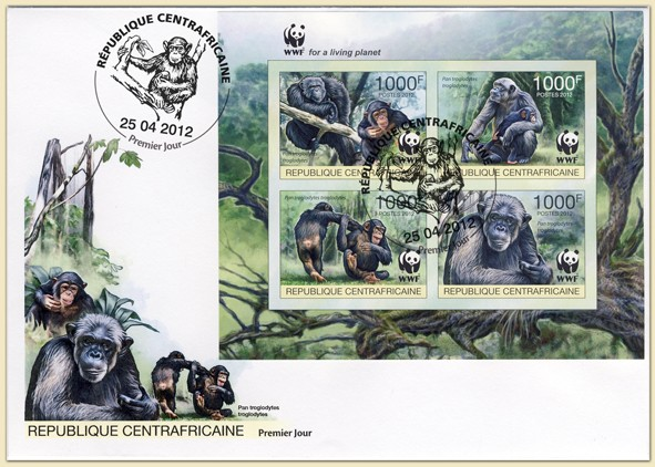 WWF Pan troglodytes troglodytes Sheet of 1 set - FDC Imperforated - Issue of Central African republic postage stamps