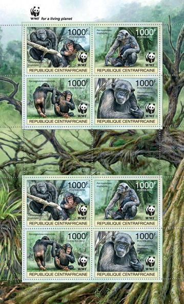 WWF Pan troglodytes troglodytes Sheet of 2 sets - Perforated - Issue of Central African republic postage stamps