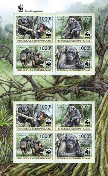 WWF Pan troglodytes troglodytes Sheet of 2 sets - Imperforated - Issue of Central African republic postage stamps