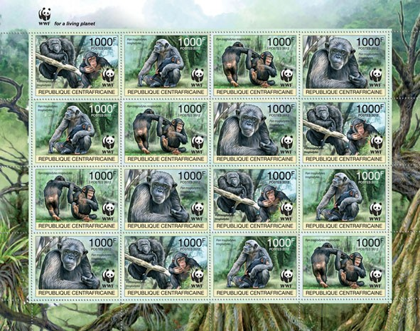 WWF Pan troglodytes troglodytes Sheet of 4 sets - Perforated - Issue of Central African republic postage stamps