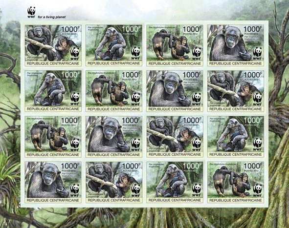 WWF Pan troglodytes troglodytes Sheet of 4 sets - Imperforated - Issue of Central African republic postage stamps