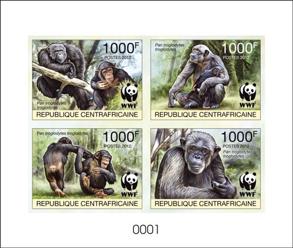 WWF Pan troglodytes troglodytes De Luxe sheet with 4v - Issue of Central African republic postage stamps