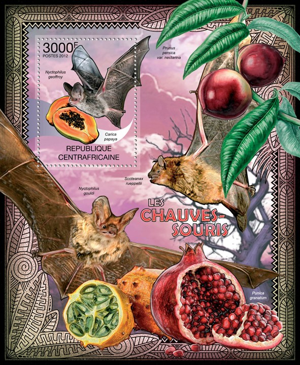Bats, (Nyctophilus geoffroy). - Issue of Central African republic postage stamps