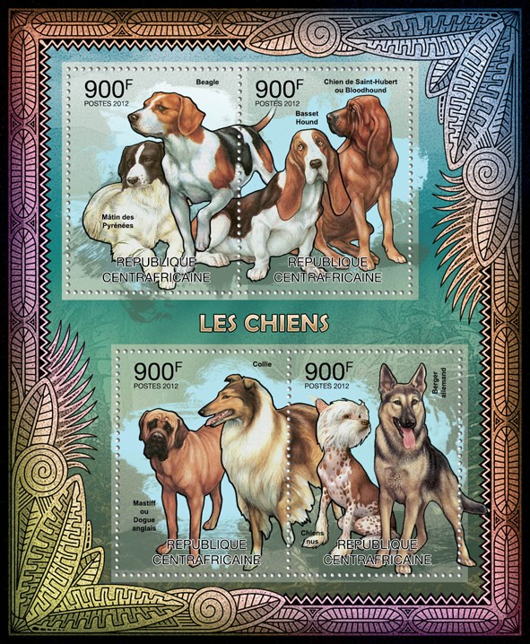 Dogs, (Beagle, Matin des Pyrenees). - Issue of Central African republic postage stamps
