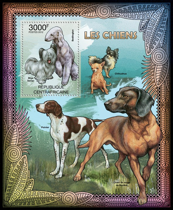 Dogs, (Skye Terrier, Bedlington). - Issue of Central African republic postage stamps