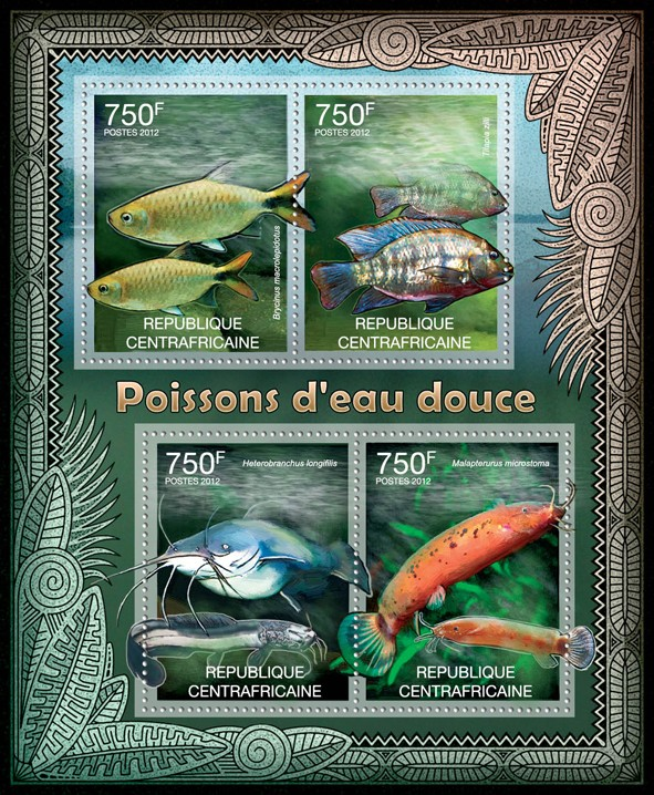Freshwater Fishes, (Brycinus, Melapterurus microstoma). - Issue of Central African republic postage stamps