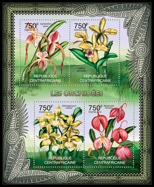 Orchids, (Cypripedium stonei, Masdevallia harryana). - Issue of Central African republic postage stamps