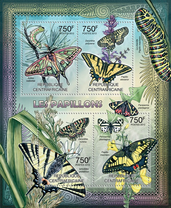 Butterflies, (Actias isabellae, Papilio mechaon). - Issue of Central African republic postage stamps
