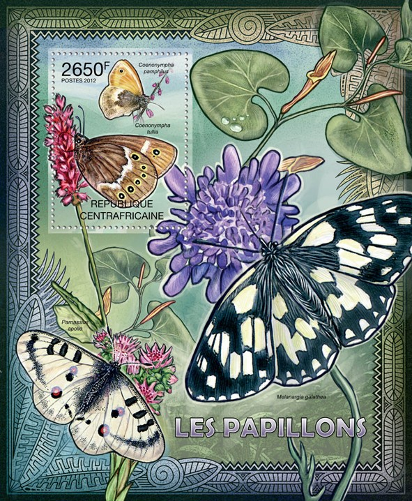 Butterflies, (Ceononympha pamphilus). - Issue of Central African republic postage stamps