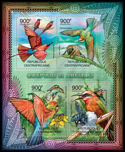 Bee-eaters & Bees, (Merops nubicoides, Thyreus nitidulus). - Issue of Central African republic postage stamps