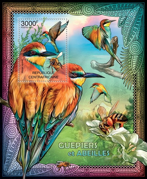 Bee-eaters & Bees, (Merops apiaster, Apis mellifera). - Issue of Central African republic postage stamps