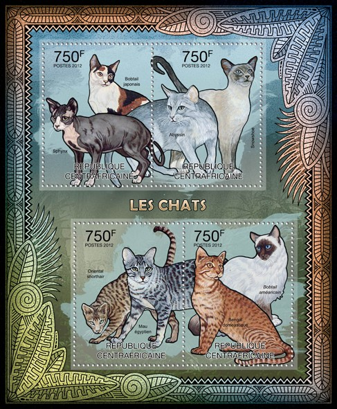 Cats, (Sphynx, Bobtail japonais, Bobtail amearicain, Bengal domestique). - Issue of Central African republic postage stamps