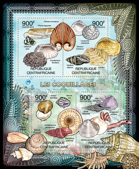 Shells, (Glossus humanus, Pharus legumen, Cittarium pica). - Issue of Central African republic postage stamps