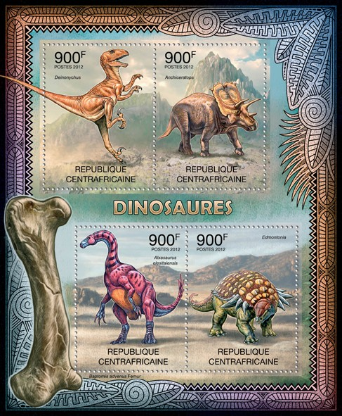 Dinosaurs, (Deinonychus, Edmontonia). - Issue of Central African republic postage stamps
