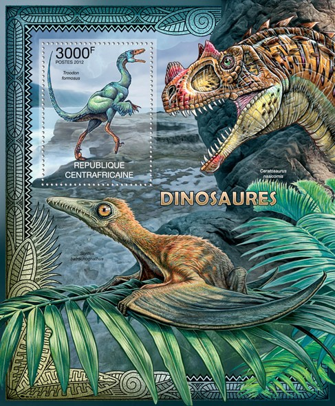 Dinosaurs, (Troodon formosus). - Issue of Central African republic postage stamps