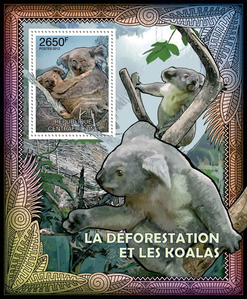 Deforestation & Koalas, (Phascolarctos cinereus). - Issue of Central African republic postage stamps