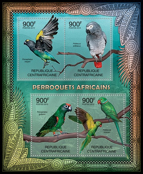 Parrots of Africa, (Poicephalus meyeri, Psittacula krameri). - Issue of Central African republic postage stamps