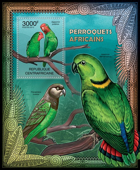Parrots of Africa, (Agapornis pullarius). - Issue of Central African republic postage stamps