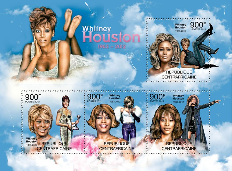 Whitney Houston, (1983-2012). - Issue of Central African republic postage stamps