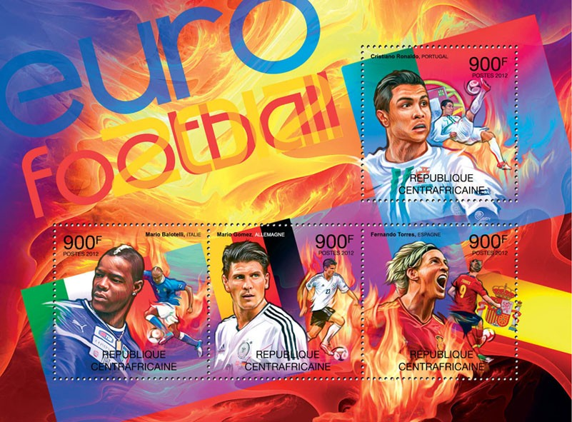 Football Euro 2012, (C.Ronaldo, M.Bolatelli, M.Gomez, F.Torres). - Issue of Central African republic postage stamps