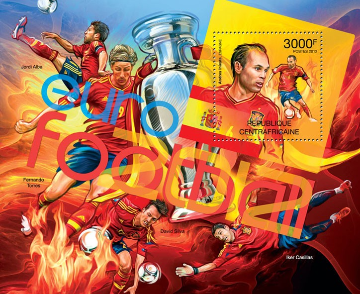 Football Euro 2012, (Andreas Iniesta). - Issue of Central African republic postage stamps