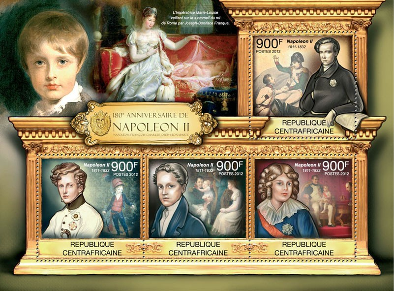 180th Anniversary of Napoleon II, (1811-1832). - Issue of Central African republic postage stamps