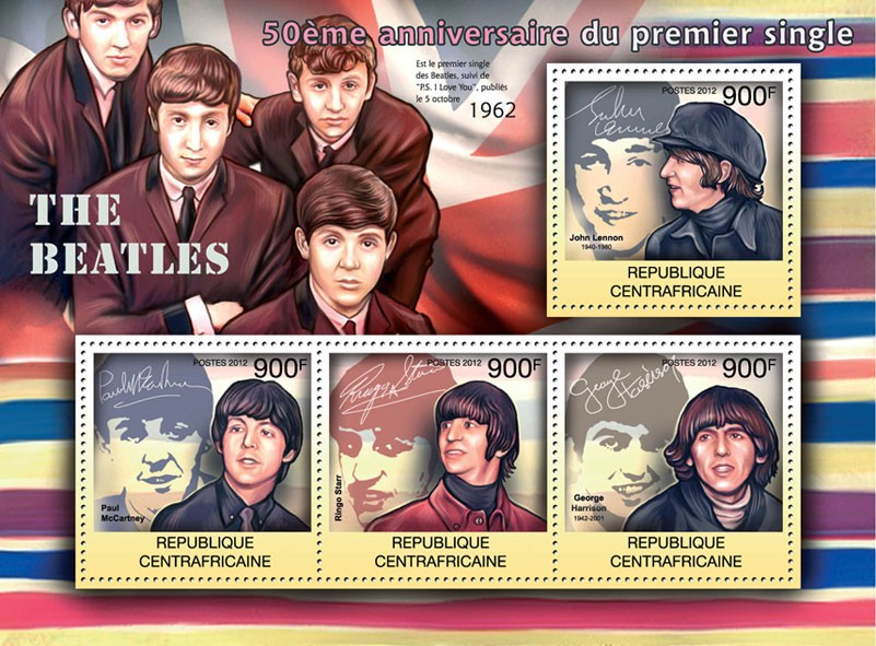 The Beatles, 50th Anniversary of First Single. - Issue of Central African republic postage stamps