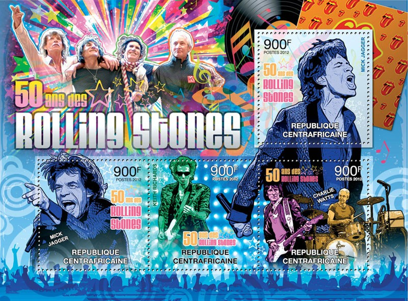 The Rolling Stones, (50 Years). - Issue of Central African republic postage stamps