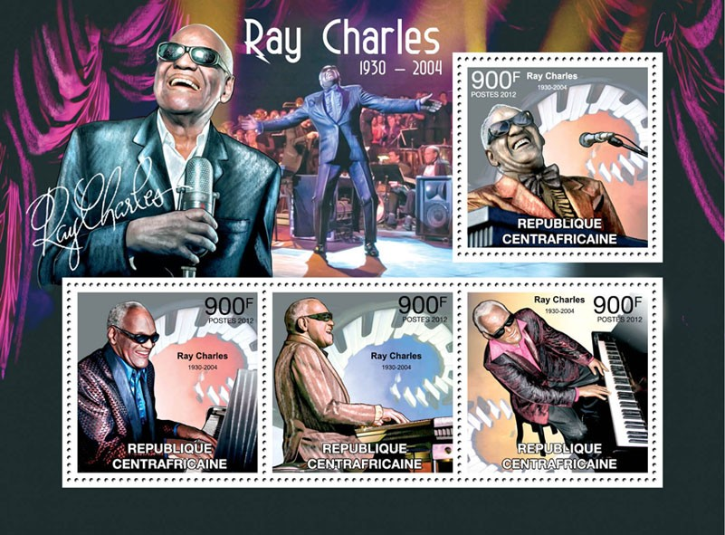 Ray Charles, (1930-2004). - Issue of Central African republic postage stamps