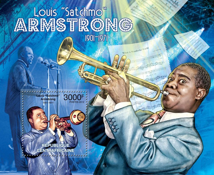 Louis Armstrong, (1901-1971). - Issue of Central African republic postage stamps