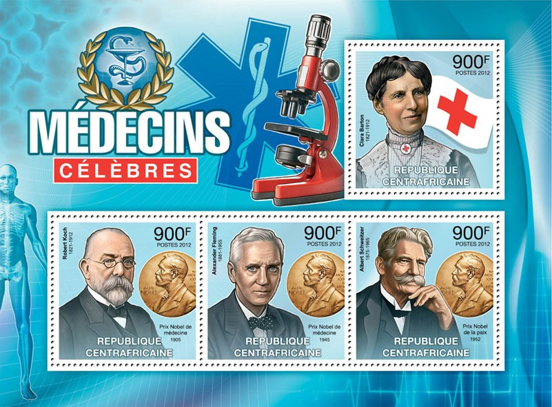 Famous Doctors, (C.Barton, R.Koch, A.Fleming, A.Scwwitzer). - Issue of Central African republic postage stamps