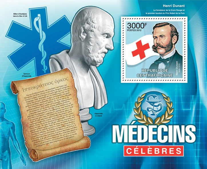 Famous Doctors, (Henri Dunant). - Issue of Central African republic postage stamps