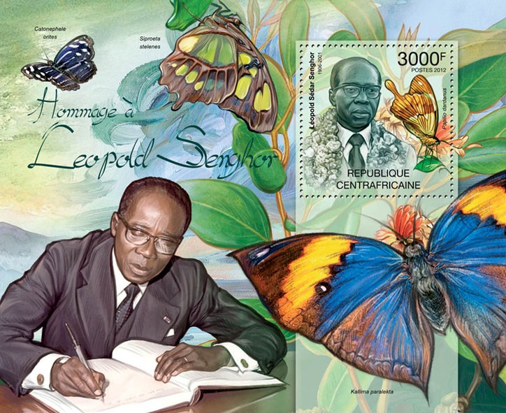 Leopold Senghor & Butterflies. - Issue of Central African republic postage stamps