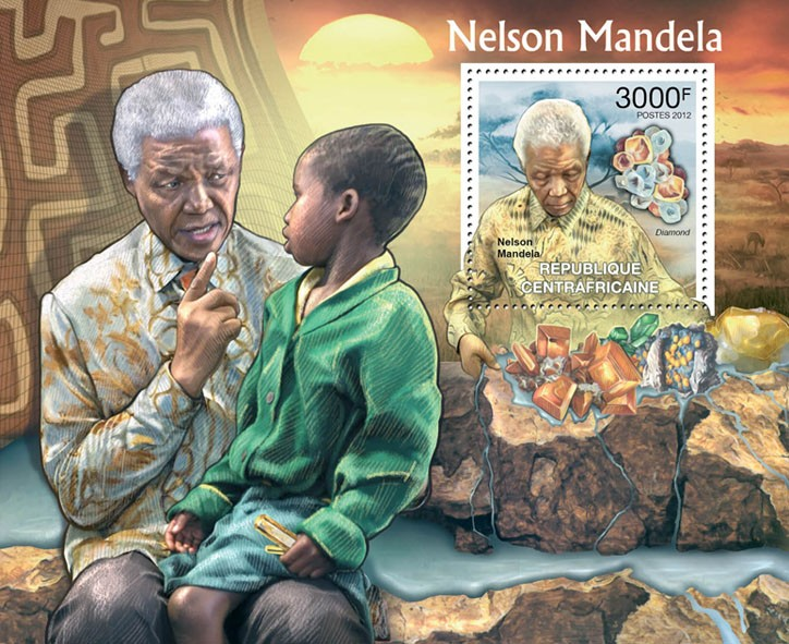 Nelson Mandela & Minerals. - Issue of Central African republic postage stamps