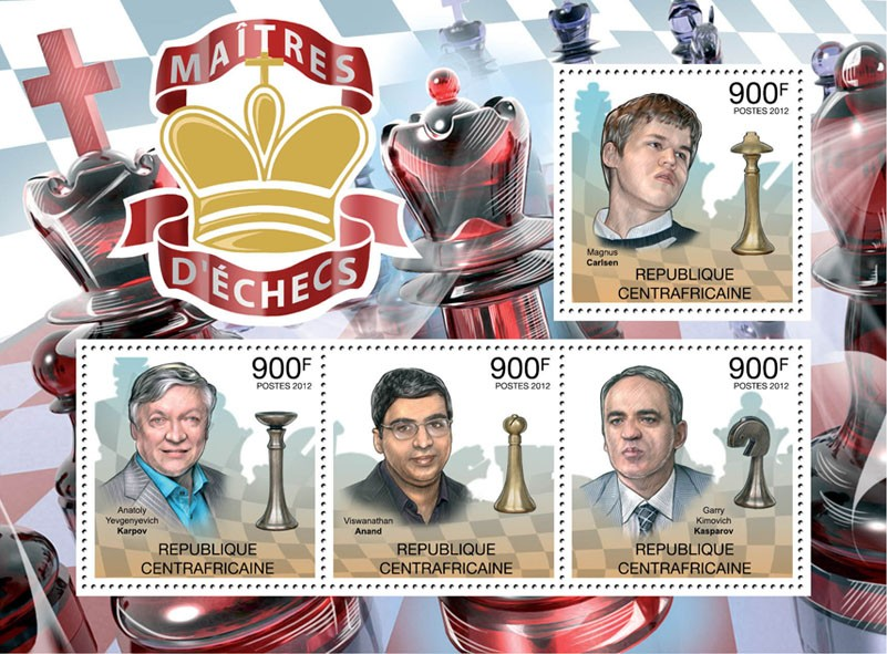 Chess Players, (M. Carslen, A,Karpov, V.Anand, G.Kasparov). - Issue of Central African republic postage stamps