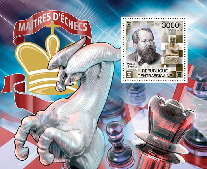 Chess Players, (Wilhelm Steinitz). - Issue of Central African republic postage stamps