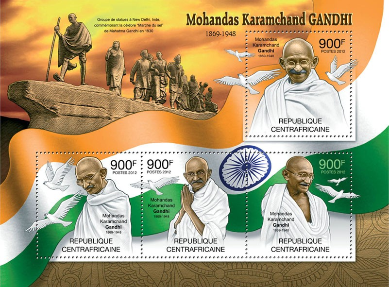 Mohandas Karamchand Gandhi, (1869-1948). - Issue of Central African republic postage stamps