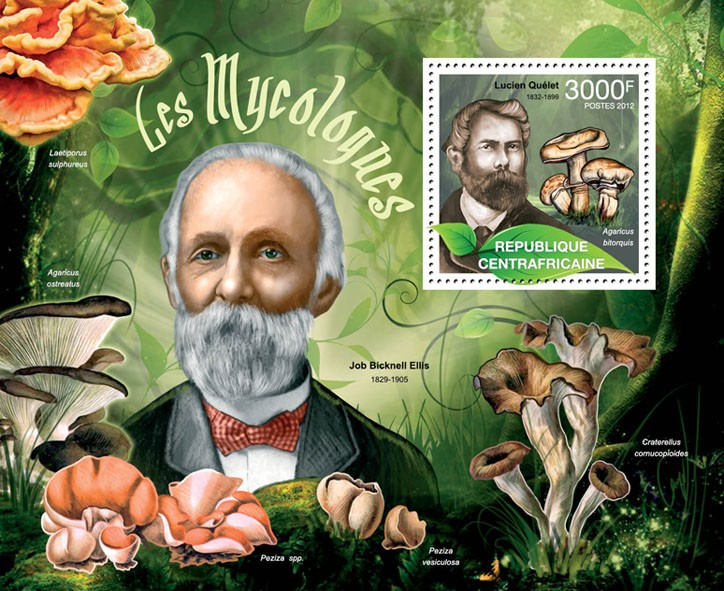 Mushrooms & Mycologists, (Lucien Quelet, Agaricus bitorquis). - Issue of Central African republic postage stamps