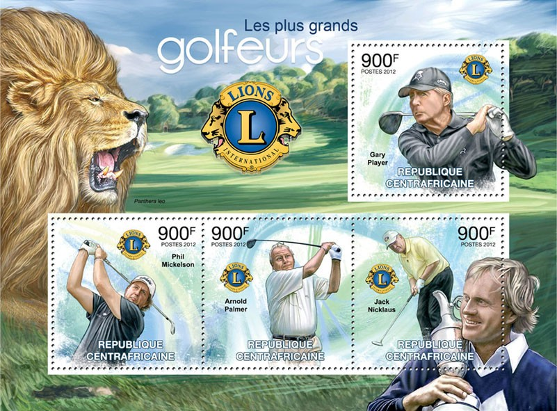 Golf Players & Lions Club, (Gary Player, Jack Nicklaus). - Issue of Central African republic postage stamps