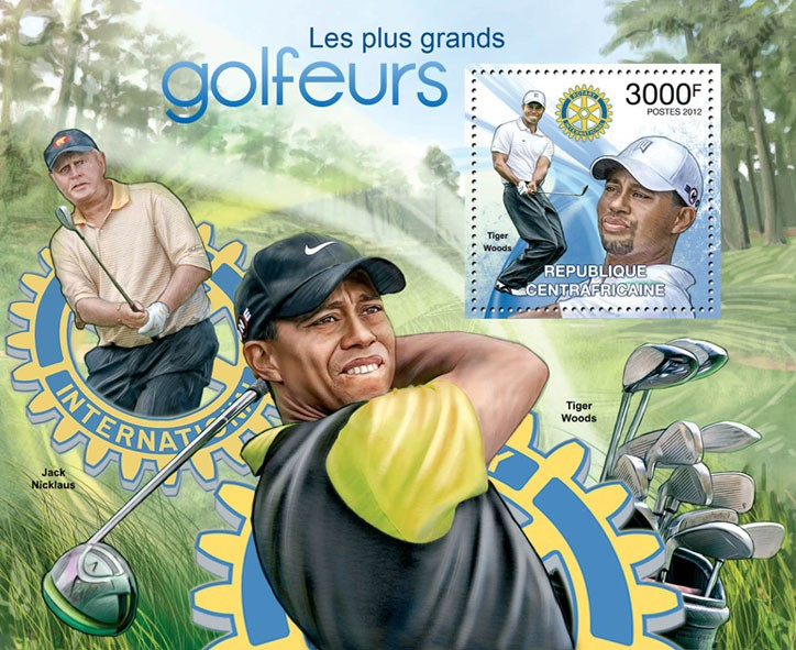 Golf Players & Rotary Int. Club, (Tiger Woods). - Issue of Central African republic postage stamps